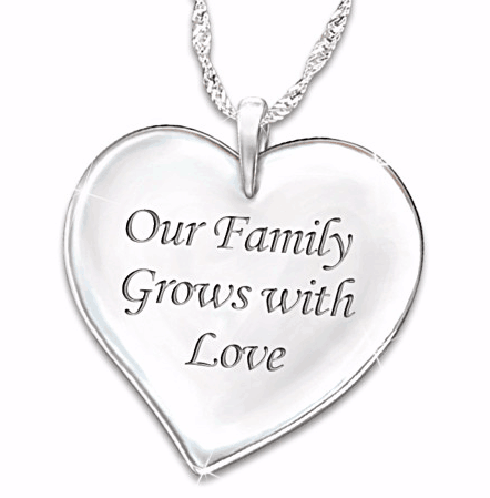 Back of Our Family Grows with Love Necklace
