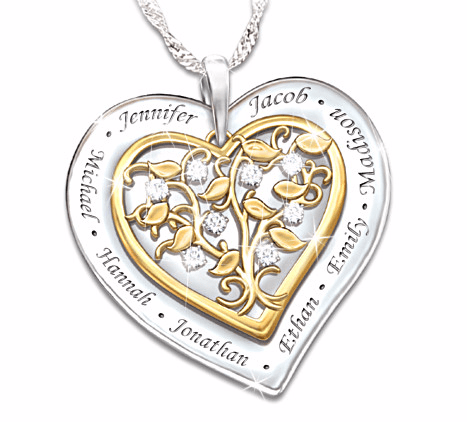 What a sweet gift for Mom or Grandma!  Heart shaped diamond family tree necklace will become their favorite piece of jewelry.