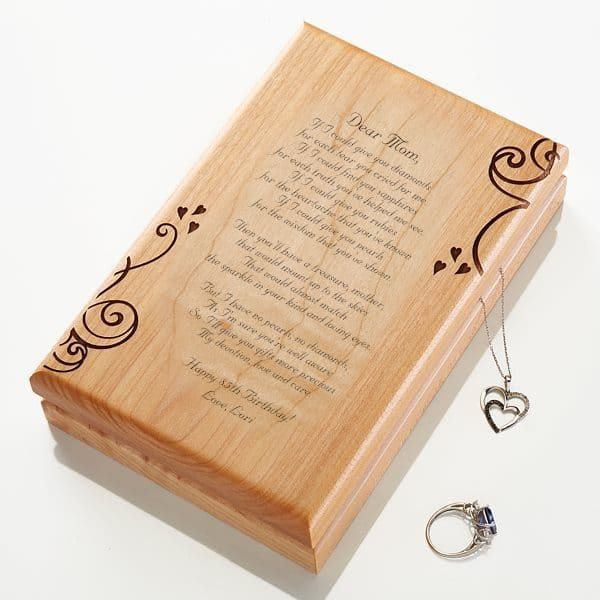 Looking for a sentimental gift for Mom, Grandma or another special lady?  Let her know how much you treasure her by adding your own heart-felt message to this striking jewelry box.