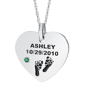 Christmas gifts for new moms - Surprise the new mother with this striking baby foot prints necklace that's personalized with the baby's name, birthdate and birthstone.