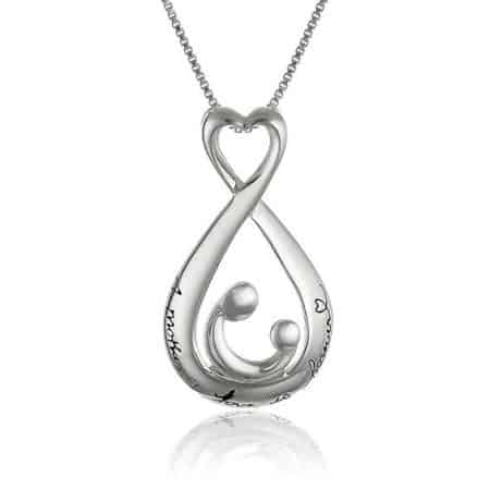 "Mother and Child Necklace:  Sweet infinity necklace is inscribed, ""A mother's love is forever"".  A meaningful gift for any mom!"