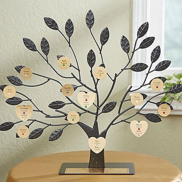 Graceful family tree sculpture is a fabulous Christmas present for Mom, or as a combined gift for both parents.  Each family member is represented by a disc that features their name, date and birthstone.