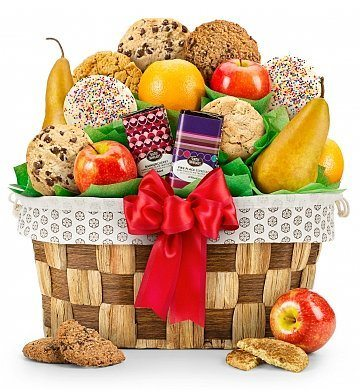 Fresh Fruit & Cookies Holiday Gift Basket
