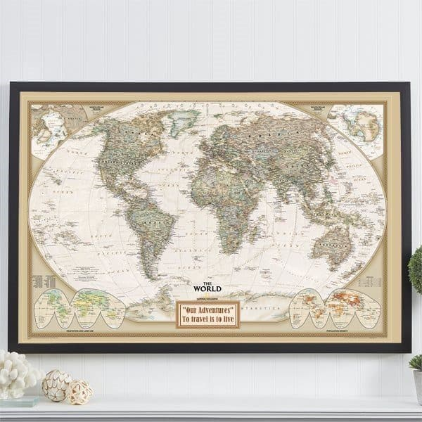 "Striking ""Pin Your Journeys"" personalized world map is a unique Christmas gift idea for the mother who loves to travel!"
