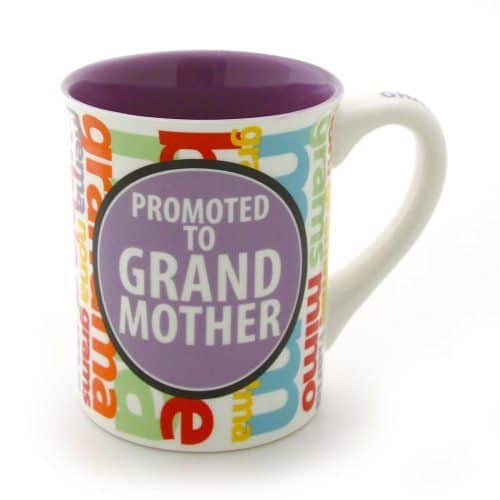 Cute promoted to grandmother coffee mug is a fun way to let Mom know you're expecting...or a sweet little gift when the baby arrives!