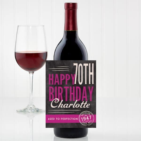 Personalized 70th Birthday Wine Bottle Label - Treat her to a favorite bottle of wine, but make it extra-special by adding a personalized wine bottle label!