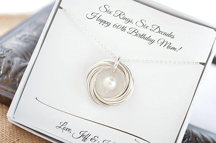 60th Birthday Necklace - love the simple elegance of this sterling silver and pearl necklace!  6 rings for 6 decades - a beautiful necklace that celebrates a 60th birthday in style!