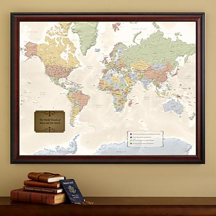 Looking for a gift for the man or woman who loves to travel?  He or she will love this striking personalized pin your journeys travel map!