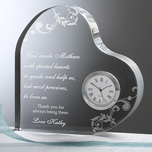 Looking for a sentimental gift for your Mother?  Delight her with this exquisite heart shaped clock that features your own heartfelt message of love.