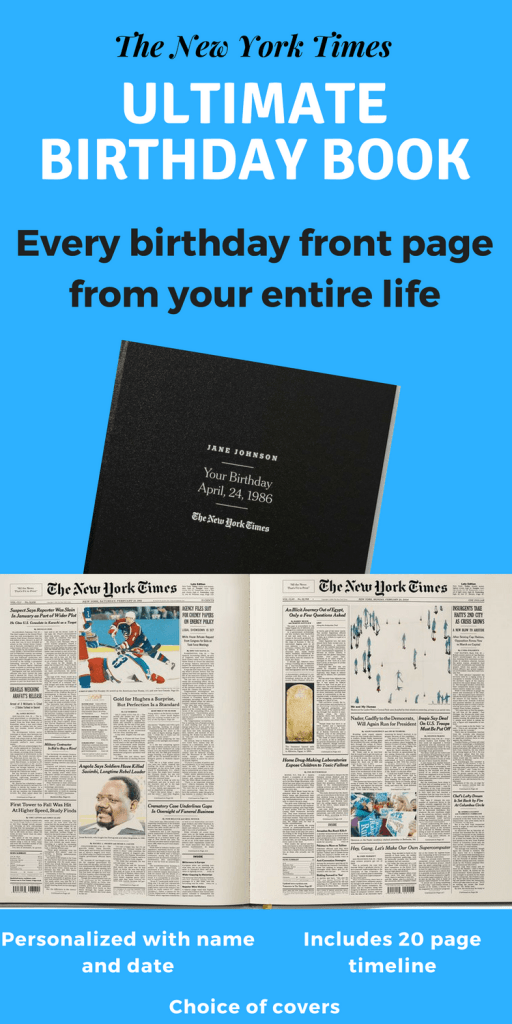 Looking for a unique 85th birthday gift?  Impress your favorite senior with The New York Times Ultimate Birthday Book!  Personalized book contains every birthday front page for their entire life.  Perfect gift idea for the man or woman who has everything!