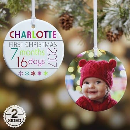 Adorable baby's first Christmas personalized ornament is just what every new mom needs for her Christmas tree!  A fun - and affordable - Christmas present that the new mom will enjoy year after year.