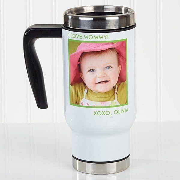How cute is this personalized photo travel mug?  A fun and inexpensive Christmas gift idea for the new mommy on the go!
