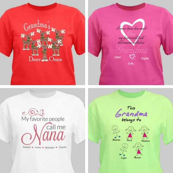 Wondering what to get Grandma for Christmas?  She would love a Grandma shirt that's personalized with her grandkids names!  A fun and unique Christmas gift for under $25.