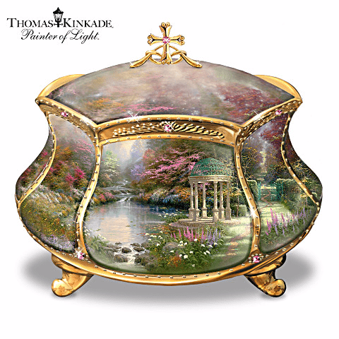 Thomas Kinkade Garden of Prayer Music Box with Secret Prayer Compartment