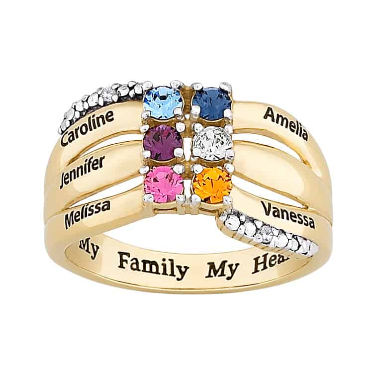 My Family, My Heart Birthstone and Name Ring