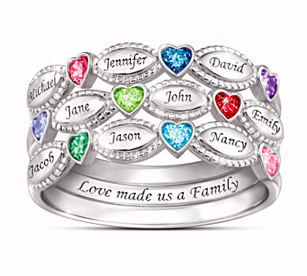 Love Made Us a Family Birthstone and Name Ring