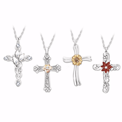 Season of Faith Necklace Gift Set for Women with 4 Cross Pendants
