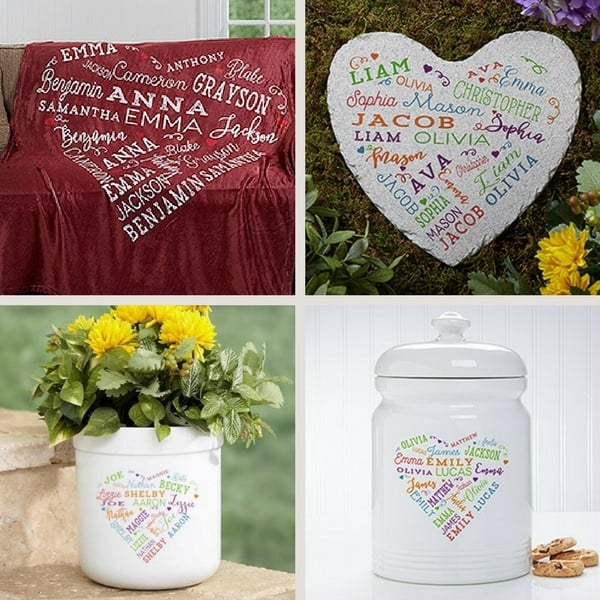 "Surround Mom with love on her special day....adorable ""Close to Her Heart"" gifts feature up to 21 names repeated in a heart pattern.  Fabulous gift for Mom on any special occasion!"