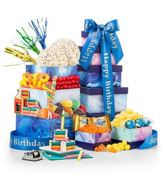 Birthday Gift Basket - How fun is this colorful birthday gift basket? Delight a special man or woman on their birthday with this festive gift tower that's packed full of birthday cheer!