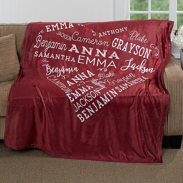 Birthday Gift Ideas - Delight Mom, Grandma or another special lady with this beautiful personalized blanket that features up to 21 names printed in a heart shape! Choose from 5 brilliant colors. A birthday, Christmas or Mother's Day gift that she will love using year round!
