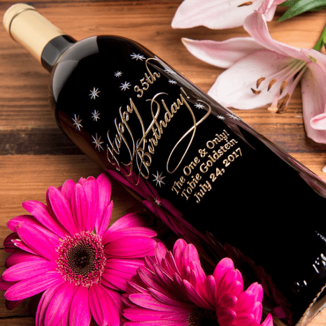 Personalized Birthday Wine - Looking for an awesome birthday gift?  Impress a special man or woman with a personalized birthday bottle of wine or champagne!  Click to see 20+ fun designs that can be etched on your choice of wine or champagne bottle.