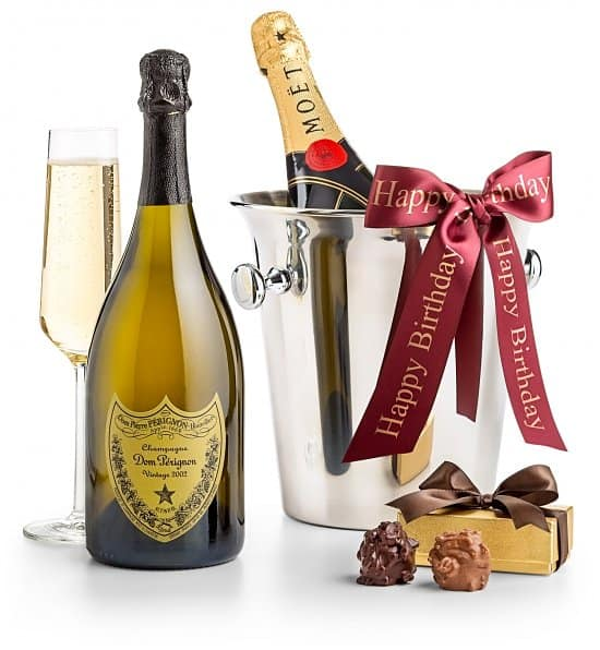 Birthday gift baskets - Impress someone special with this elegant champagne & chocolate gift basket!
