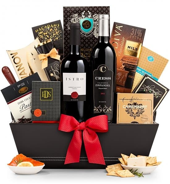 Elegant wine gift basket is a decadent treat that is perfect for a milestone birthday celebration!