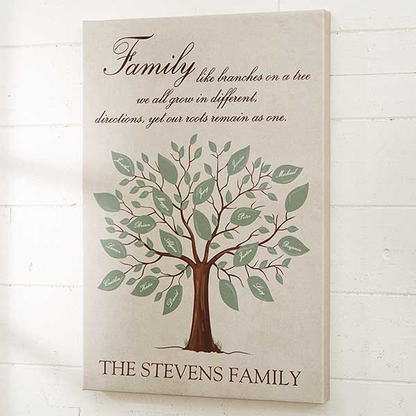Lovely family tree canvas print is a wonderful birthday, Christmas or Mother's Day gift for Mom or Grandma.  Add up to 20 family member's names to create a one-of-a-kind present she'll love!