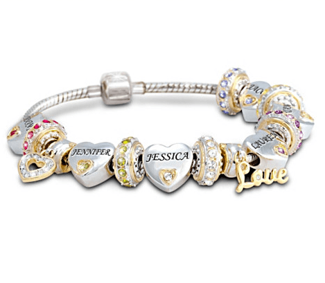 Thrill Mom on her birthday, Christmas or Mother's Day with sentimental personalized bracelet that features her children's names and birthstones.