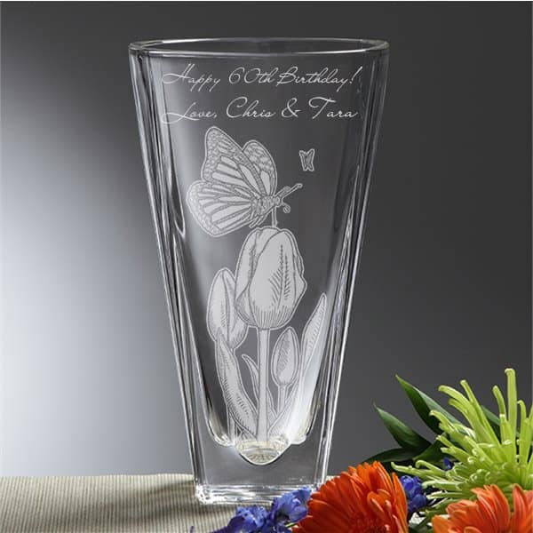 60th Birthday Vase - Thrill Mom on her 60th birthday with an elegant personalized flower vase.