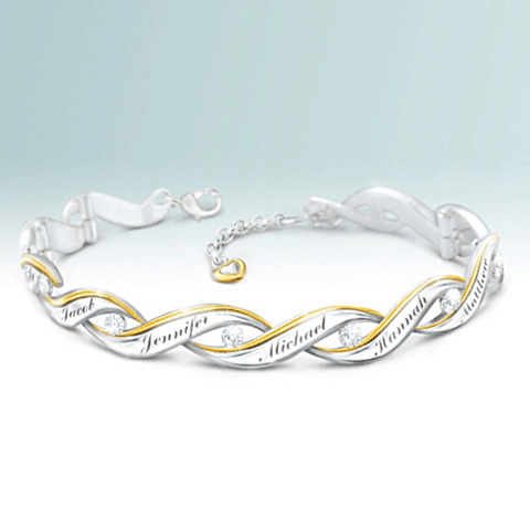 60th Birthday Gifts for Mom - Impress Mom when she's turning 60 with this sparkling diamond bracelet that features her children's names.  A 60th birthday gift she'll treasure forever!