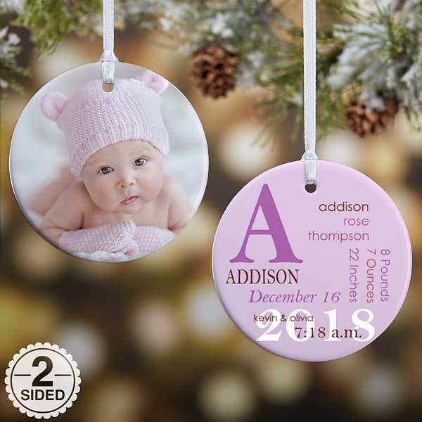 All About Baby Personalized Ornament - Pink or Blue
