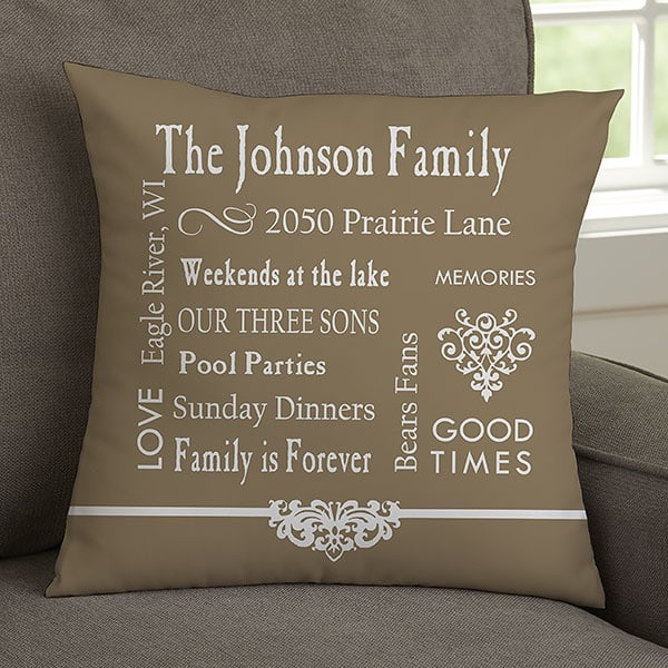 Gifts for Mom - Delight Mom with this lovely Our Family Memories pillow.  The perfect gift to show Mom how much you enjoy time together as a family!  Choose from 4 colors to create a gift she'll treasure!