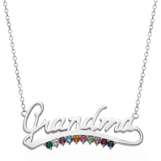 "Necklace for Grandma - Your grandmother will love wearing this sparkling necklace that features up to 10 grandkid's birthstones.  Available with either the name ""Grandma"" or ""Nana"" - click for details."