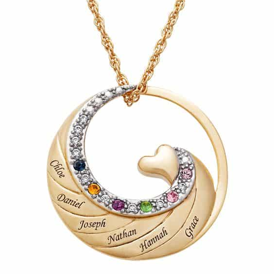 Grandmother Necklace with Grandchildren's Birthstones - Delight grandmother (or Mom) with this striking family necklace that features up to 6 names and birthstones.