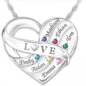 Grandma Necklace - Thrill your grandmother or Mom with this stunning heart necklace that features her grandkids' names and birthstones all nestled together in a heart-shaped charm.