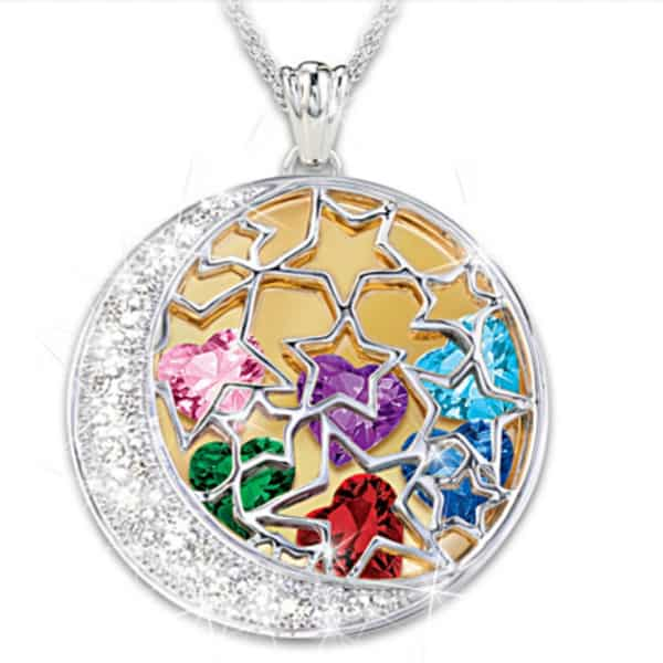 "I Love My Family to the Moon and Back Birthstone Locket - Thrill Mom or Grandma with this stunning locket that features heart-shaped birthstone inside the moon and stars locket.  The reverse is engraved with up to 6 names, and the sweet saying ""I love my family to the moon and back"".  Click for details."