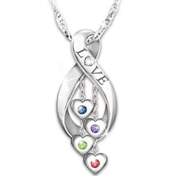 "Infinity Birthstone Necklace for Mom or Grandma - Surprise your mother or grandmother with this elegant infinity necklace that features her kids' birthstones!  Genuine diamond in the ""O"" in love adds just the right amount of sparkle.  A Mother's Day or Christmas gift that she'll always treasure!"