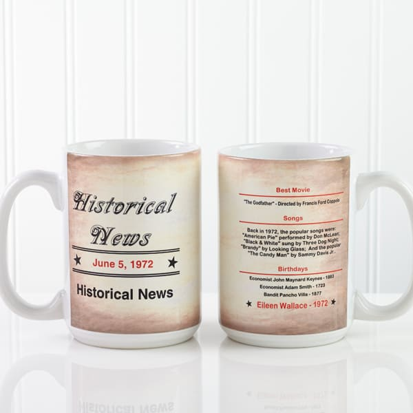 Looking for an inexpensive birthday gift for 90 year old Grandma? Treat her to this fun Day You Were Born coffee mug that's full of interesting trivia about what happened when on her birthdate.