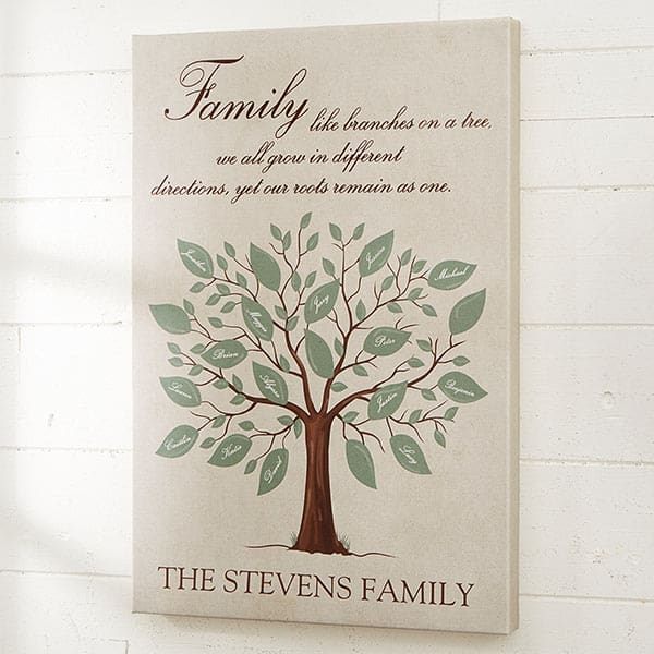 Gorgeous personalized family tree canvas is a thoughtful 90th birthday gift for Grandma!