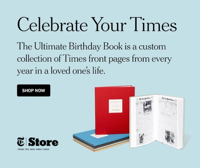 Best 90th Birthday Gift Ideas for Grandma - Delight your 90 year old Grandma with The New York Times Ultimate Birthday Book...every birthday front page for all 90 years! Click to order, or to see 20+ awesome gifts for 90 year old grandmother.