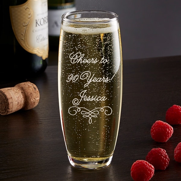 Personalized champagne glass is a cute birthday gift or party favor for a milestone birthday!