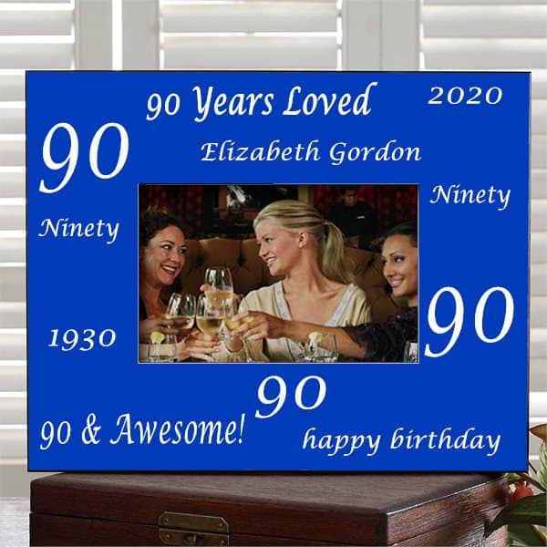 Personalized 90th birthday photo frame is a cute way to display a favorite picture from her big day!