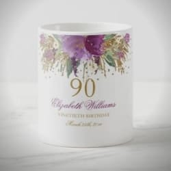 Personalized 90th Birthday Coffee Mug for Women