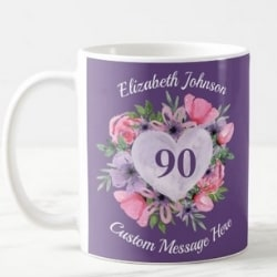Personalized 90th Birthday Coffee Mug - Choice of Colors