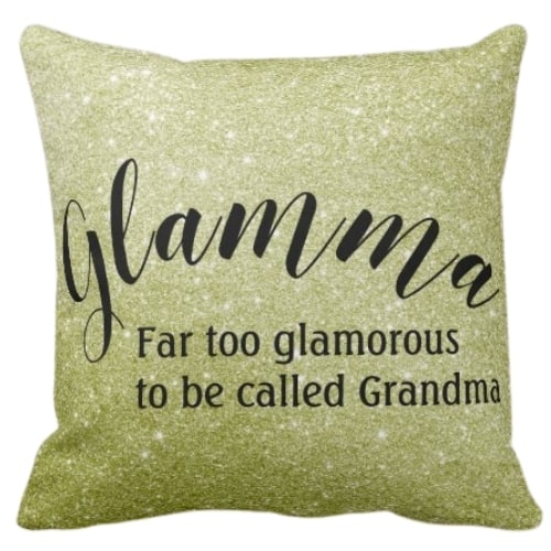 Adorable Glamma Pillow is the perfect gift for the glamorous first time grandma!  Design is available on mugs, shirts, face mask, Christmas ornaments and more!