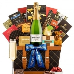 Champagne Gift Basket with Personalized Ribbon