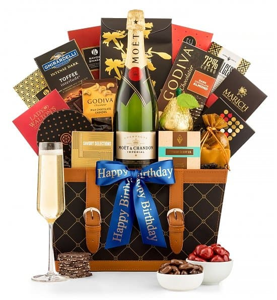 60th Birthday Champagne Gift Basket - Treat Mom when she turns 60 to a decadent birthday gift basket filled with champagne and chocolate!