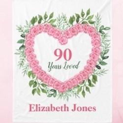 Personalized 90 Years Loved Fleece Blanket