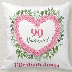 Personalized 90 Years Loved Heart Pillow
